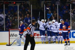 Toronto Maple Leafs Right Wing Phil Kessel celebrates with his teammates. (Brandon Titus / Inside Hockey)