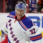 NHL 2015 - Sept 22 - NYR vs PHI - Goalie Antti Raanta (#32) of the New York Rangers