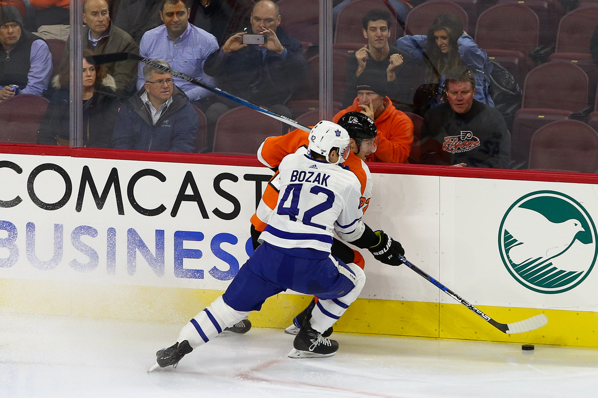 Photo gallery maple leafs vs flyers 12122017 inside hockey center tyler bozak 42 of the toronto maple leafs covers right wing dale weise 22 of the philadelphia flyers m4hsunfo