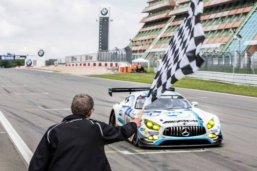 Mercedes-AMG GT3 taking the checkered flag at the 2016 Nurburgring 24 Hours