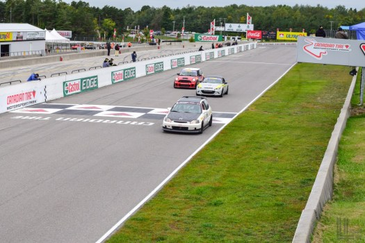 Despite an admirable effort, Ali Nasipour in the MINI Cooper S was unable to pass the Mazda MX-5 to challenge Pauly in the Civic for first place - 2018 Celebration of Motorsport, final round of the CASC Pirelli GT Sprints championship.