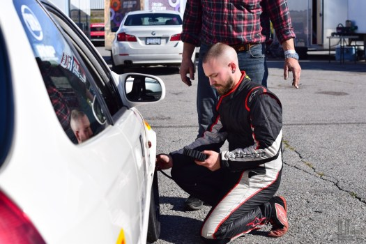 Pauly adjusting tire pressures on the Honda Civic before the race - 2018 Celebration of Motorsport, final round of the CASC Pirelli GT Sprints championship.