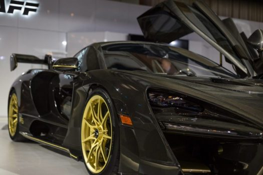 Pfaff Automotive Partners put this stunning McLaren Senna on display, finished in carbon fiber with gold wheels.