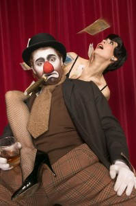 Inside Magic Image of Female Magician Kathleen Lakeland Beating Clown in Contest