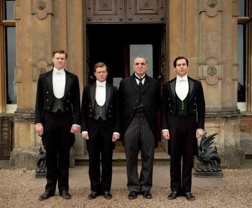 Pictured Matt Milne as Alfred, ED SPELEERS as Jimmy, Jim Carter as MR Carson and Rob James-Collier as Thomas.