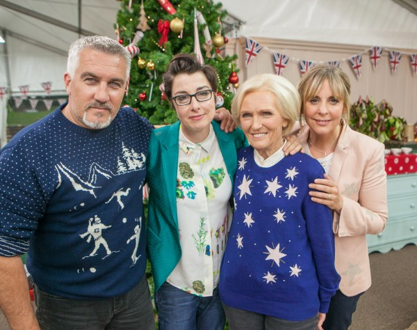 WARNING: Embargoed for publication until 00:00:01 on 22/11/2016 - Programme Name: The Great British Bake Off Christmas 2016 - TX: n/a - Episode: n/a (No. n/a) - Picture Shows: EMBRAGOED FOR USE UNTIL 22ND NOV 2017 Paul Hollywood, Sue Perkins, Mary Berry, Mel Giedroyc - (C) Love Productions - Photographer: Mark Bourdillon