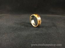 Titanium & bamboo marble ring