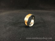 Zebra wood & titanium ring
