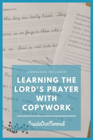 Learning the Lord's Prayer with Copywork