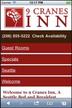 Mobile Website for 9 Cranes Inn