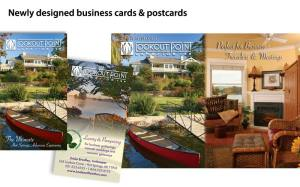 New business cards and postcards set the tone for a brochure redesign.