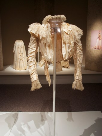 Ivory silk and lace wedding dress, 1898