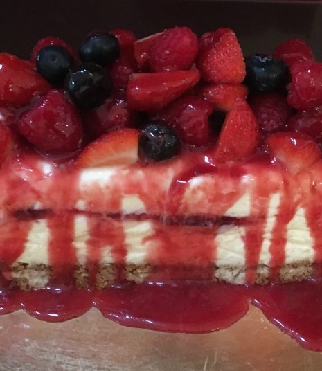 red berry and white chocolate cheesecake