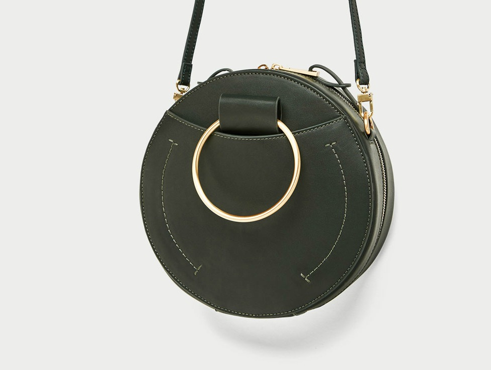 Zara dark green circular bag