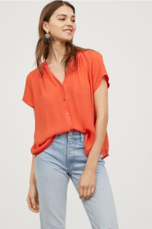 H&M Orange V-Neck Blouse