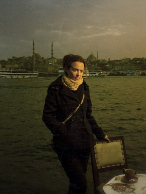 Mieke Strand in Istanbul. Processed through SnapSeed for texture.