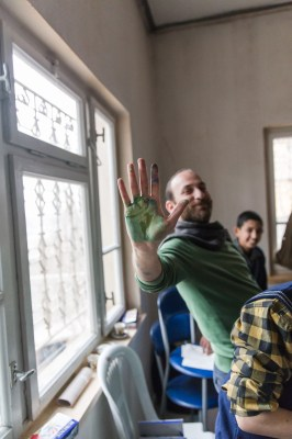 Khalid during an art therapy session at a Syrian school in Kahramanmaras, Turkey, by Mieke Strand