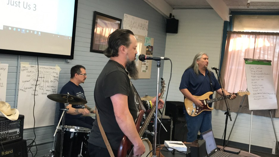 For its Nov. 23 Native American Heritage Month celebration, MacLaren Youth Correctional Facility hosted a band, made up of OYA program coordinators Leslie Riggs on drums, Derwin Decker on guitar, and guest Nathan Myers on bass.
