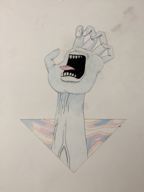 drawing of a hand with a screaming mouth