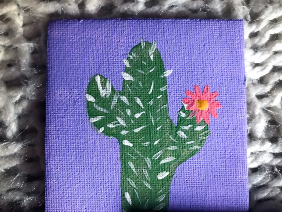painting of a cactus with a flower
