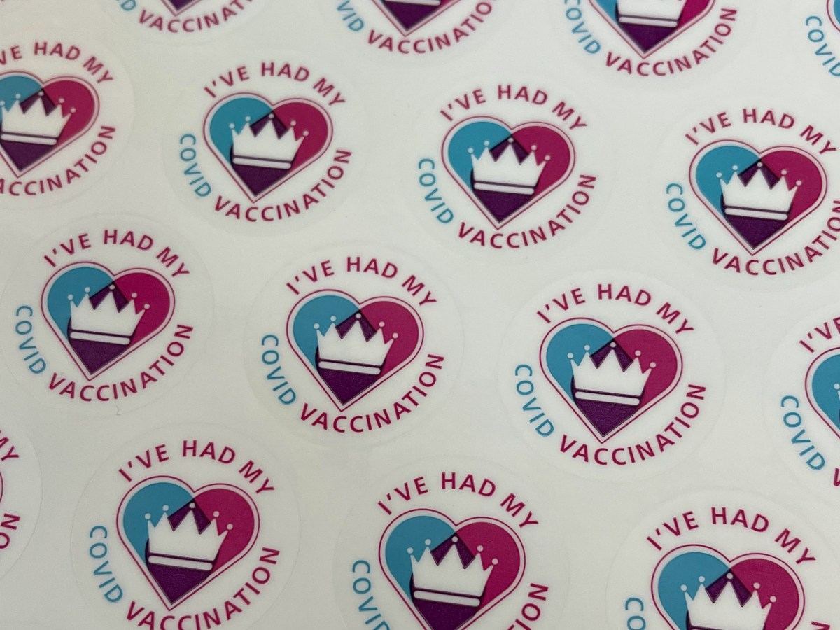 "stickers that say ""I've had my COVID vaccination"""