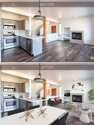 Virtual Staging before after example