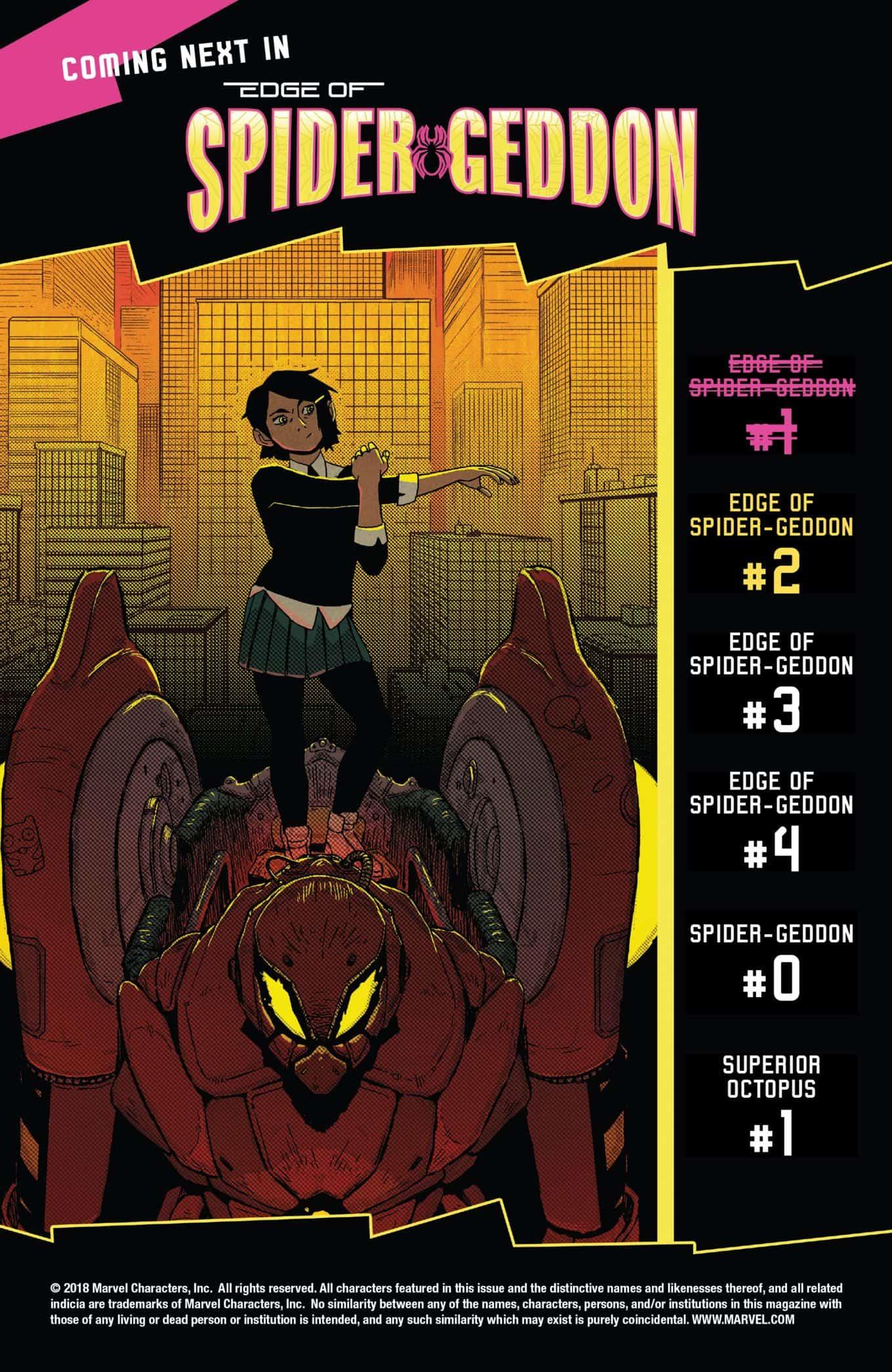Marvel Comics Universe Amp Edge Of Spider Geddon 1 Spoilers