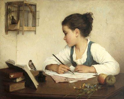 girl writing header