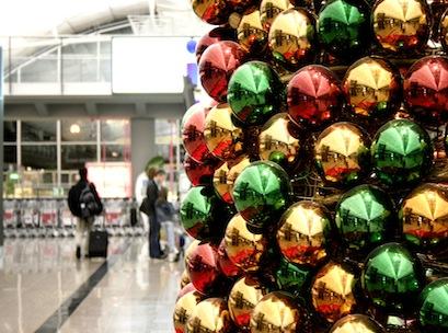christmas, tree, airport