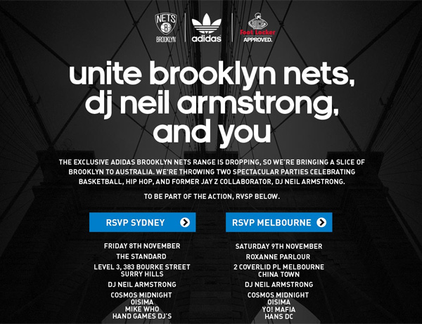 Adidas' online RSVP for its Brooklyn Nets event next month.