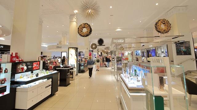 Unidentified people visit David Jones department store in Melbourne Australia