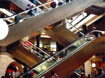 shopping center, escalators