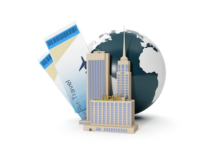 3d illustration: World Tour. The group of buildings and suitcases