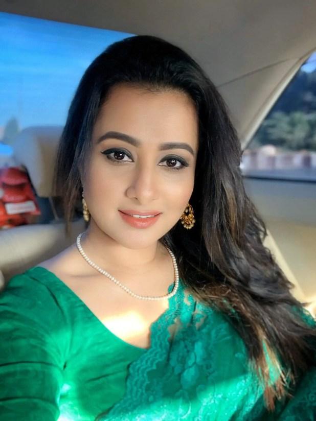 Actress Purnima photo in green saree