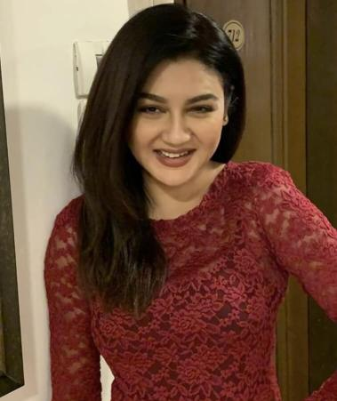 Jaya Ahsan in red dress