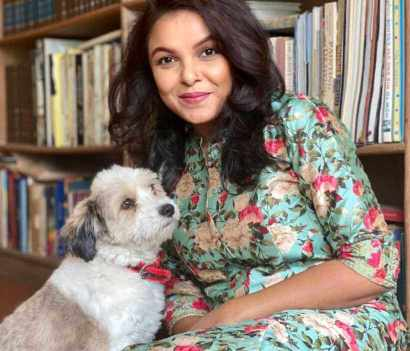 Meher Afroz Shaon with her Dog
