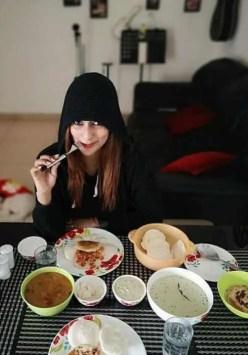 Sayantika Banarjee with foods