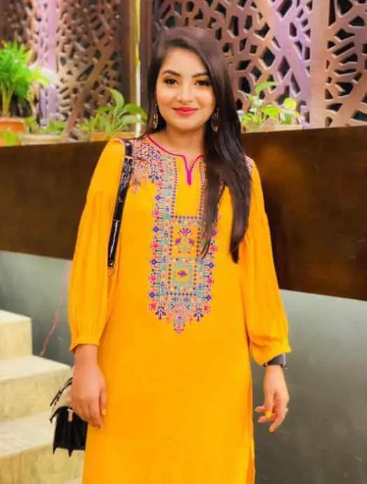 Nusrat Jahan Ontora with Yellow Color Dress Photo