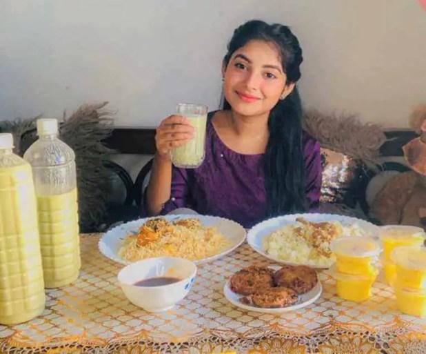 Nusrat Jahan Ontora with foods picture