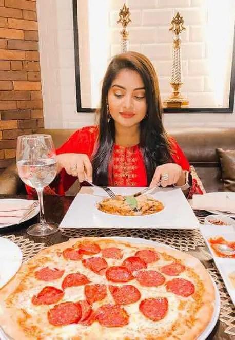 Nusrat Jahan Ontora with foods