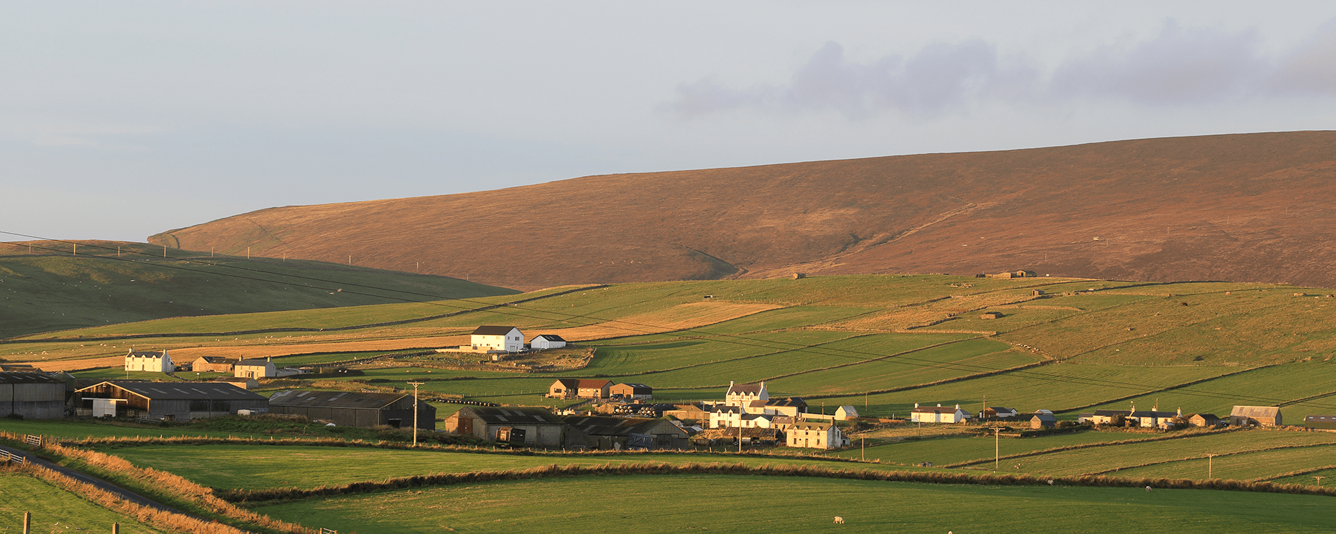 A view across farmland and Hillwell to Fitful Head, south Mainland, Shetland, Scotland, UK.