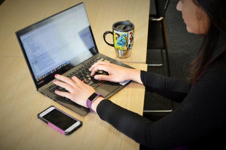 Jo working on laptop