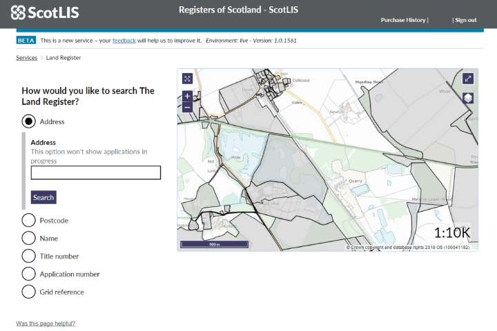 Screenshot of ScotLIS search page
