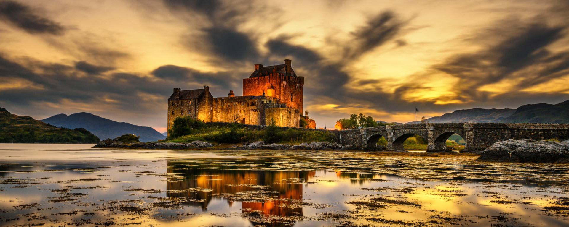 Sunset over Eilean Donan Castle Scotland