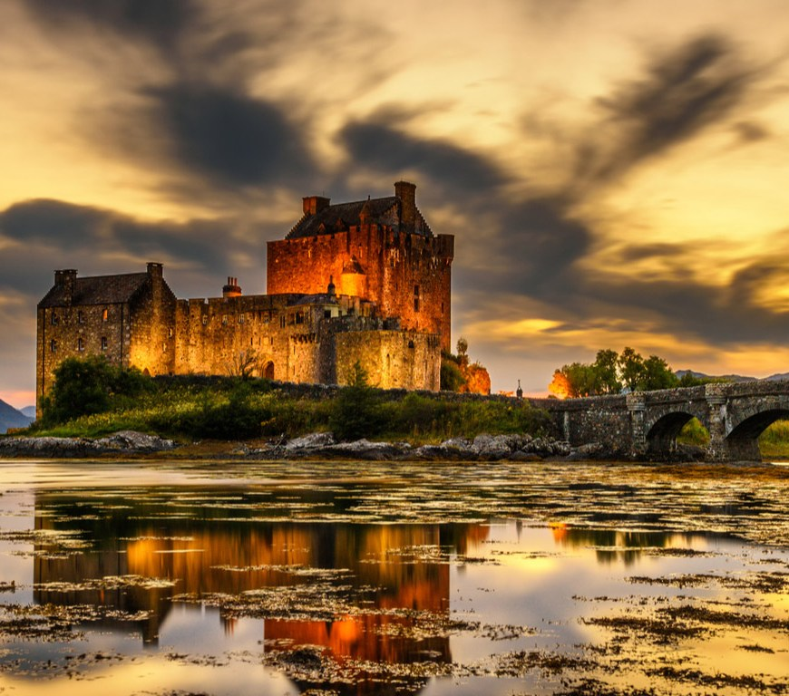Sunset over Eilean Donan Castle Scotland