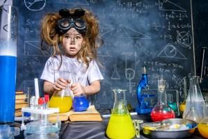 female child in posing in lab