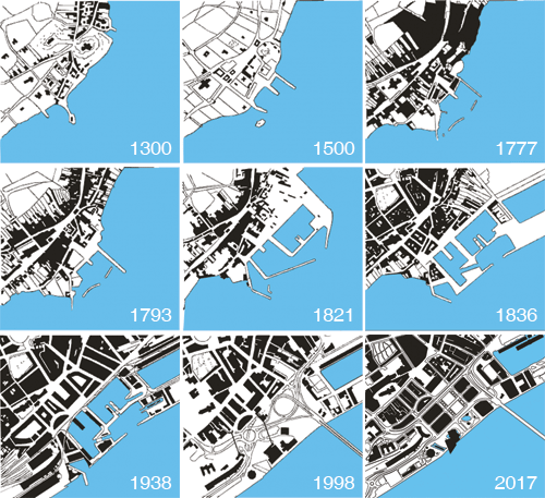 Graphic showing how Dundee waterfront has changed over time from 1300s to 2017