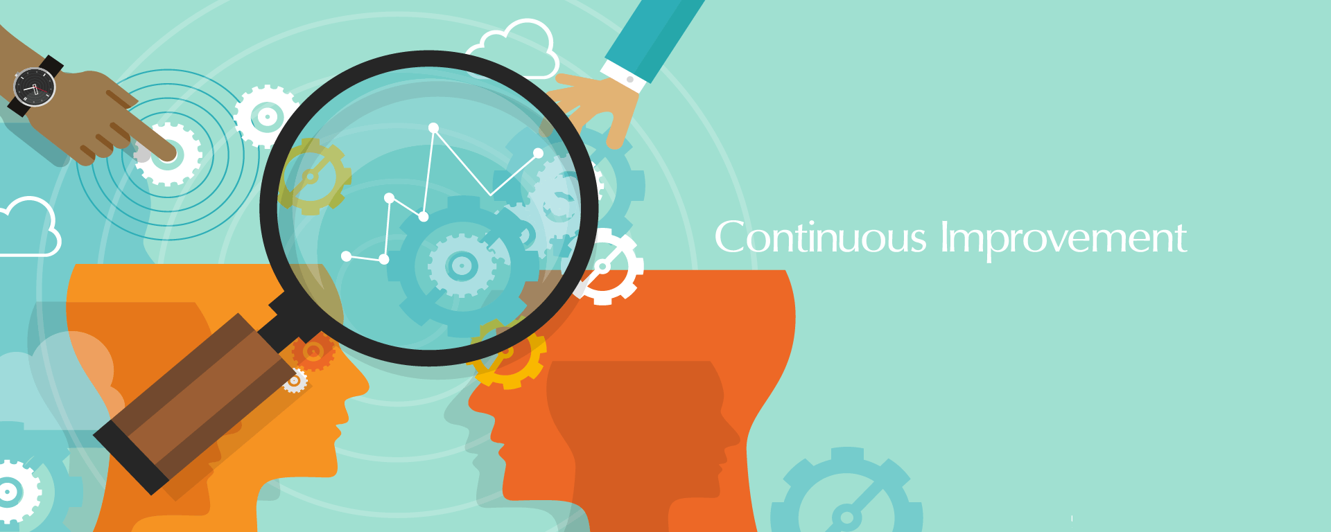 colourful graphic with the text 'continuous improvement'