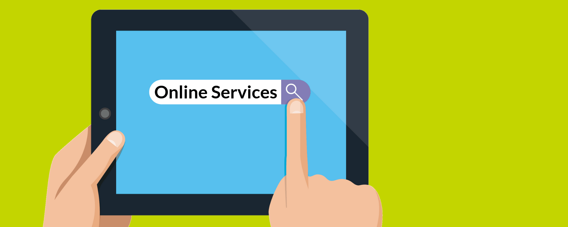 graphic of an tablet device with the text 'Online Services' in the search bar