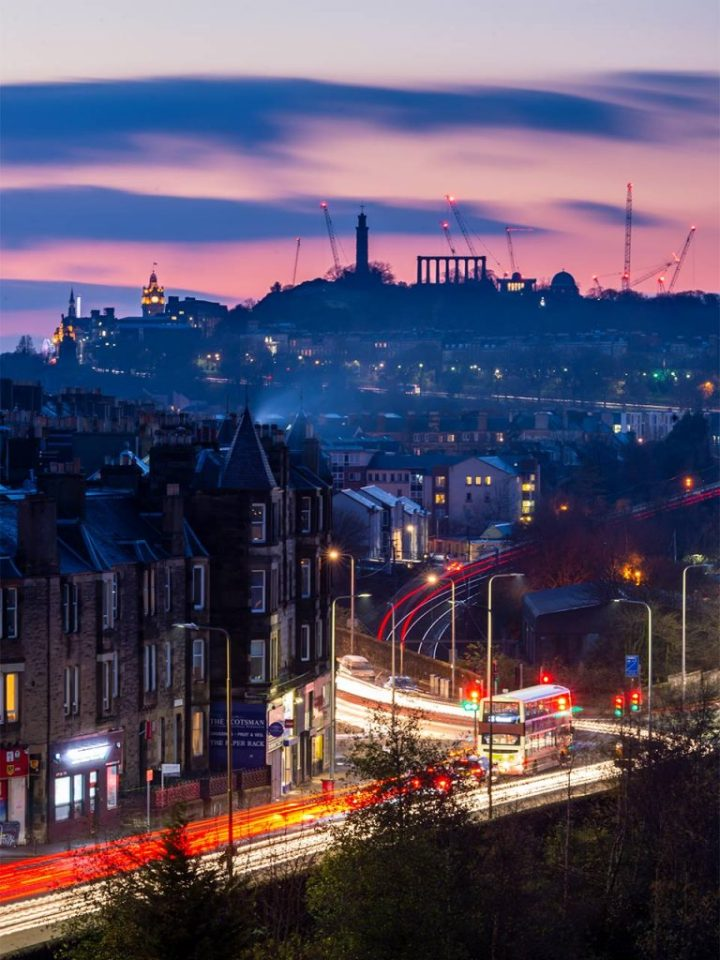 Light trails from Meadowbank House weave towards Calton Hill. Credit: Tom Duffin